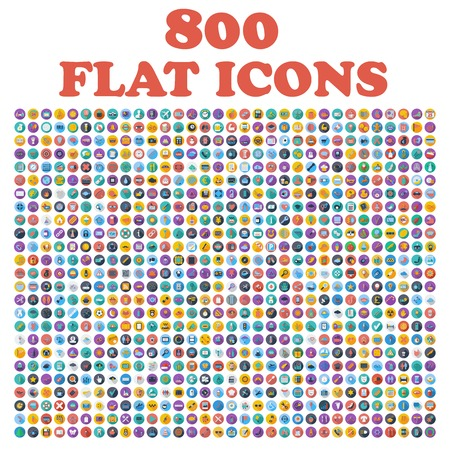 Set of 800 flat icons, for web, internet, mobile apps, interface design: business, finance, shopping, communication, fitness, computer, media, transportation, travel, easter, christmas, summer, device Vector