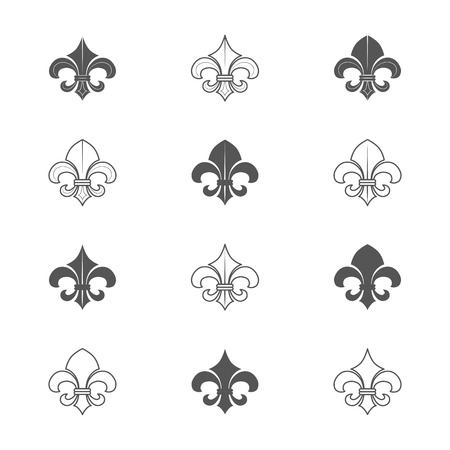 fleur de lis: Fleur. Vintage Style. Vector Illustration isolated on white background. Illustration
