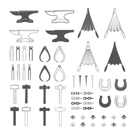 Blacksmith tools. Vintage Style. Vector Illustration isolated on white background. Vector