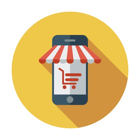 Mobile store. Color Flat design style. Vector illustration. Vector