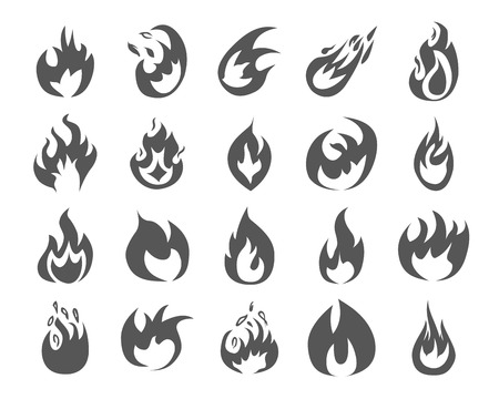 Set of various fire elements. Vector illustration. Vector