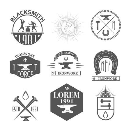 Set of vintage blacksmith labels, badges, emblems and design elements - Vector illustration. Vector