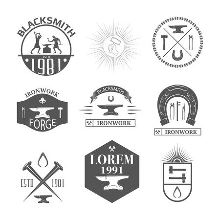 forge: Set of vintage blacksmith labels, badges, emblems and design elements - Vector illustration.