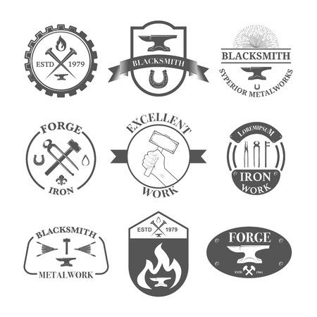 tongs: Set of vintage blacksmith labels, badges, emblems and design elements - Vector illustration.