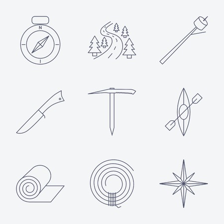 ice axe: Set of Outline stroke Camping icons on white background. Vector illustration