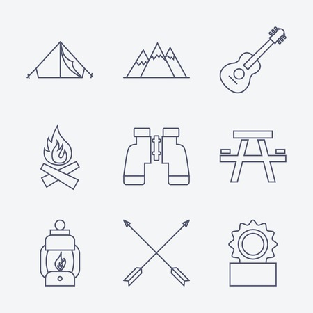 Set of Outline stroke Camping icons on white background. Vector illustration Vector