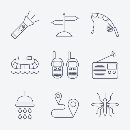 portable radio: Conjunto de iconos que acampan ictus esbozo sobre fondo blanco. Ilustraci�n vectorial