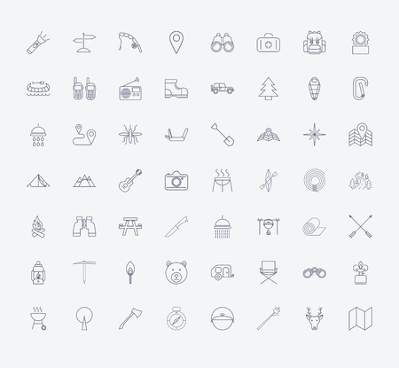 Set of Outline stroke Camping icons on white background.  Vector