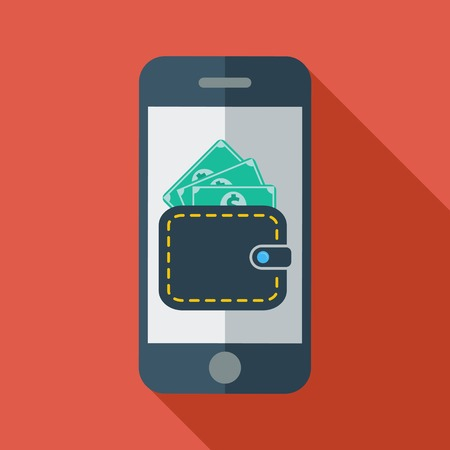 charges: Phone with wallet. Color Flat design style. Vector illustration.
