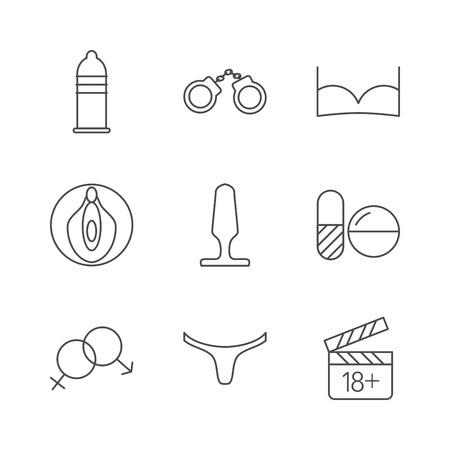 icônes de Sex Shop. Série d'icônes de course-cadre sur fond blanc. Vector illustration.