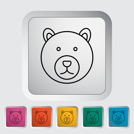 Bear outline icon on the button. Vector illustration. Illustration