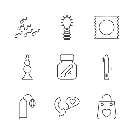 Sex shop icons. Set of Outline stroke icons on white background. Vector illustration.