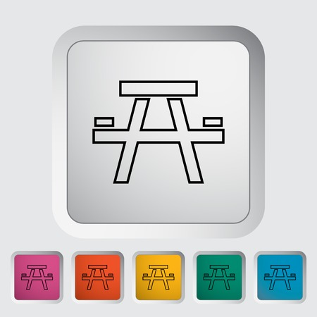 soiree: Camping table outline icon on the button. Vector illustration. Illustration