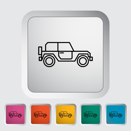 offroad: Offroad car outline icon on the button. Vector illustration. Illustration