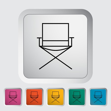 displaced: Camping chair. Outline icon on the button. Vector illustration.