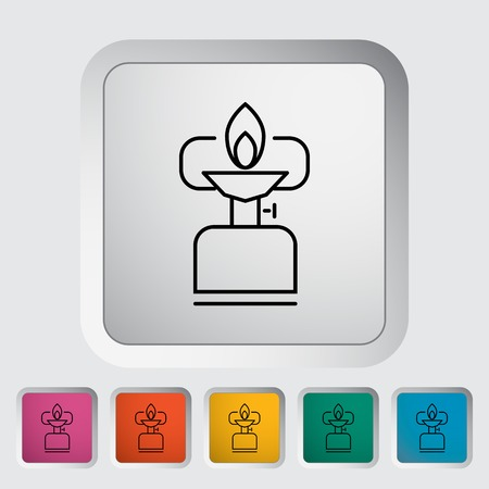 Camping stove. Outline icon on the button. Vector illustration. Vector
