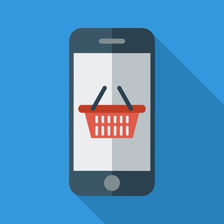 using smartphone: Phone with shopping basket. Color Flat design style. Vector illustration.