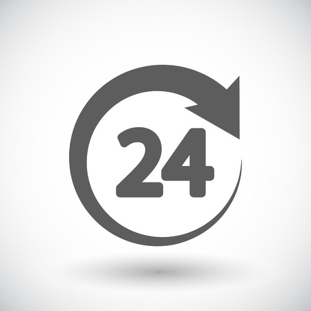 twenty four hours: 24 hours. Single flat icon on white background
