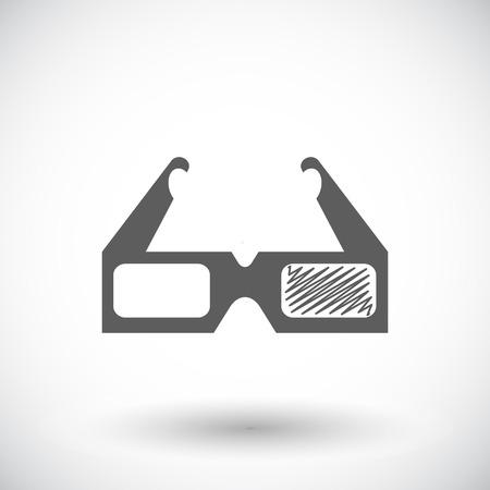 Glasses 3D. Single flat icon on white background