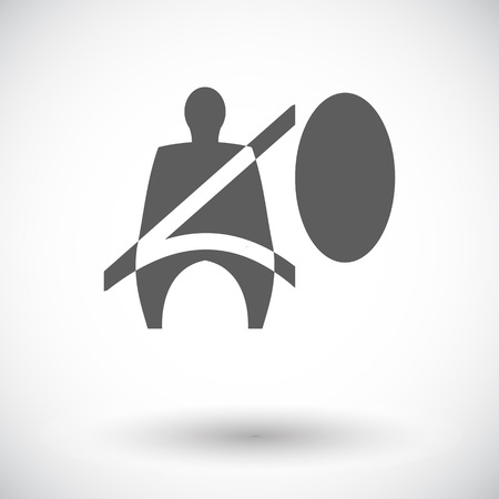 airbag: Seat belt. Single flat icon on white background