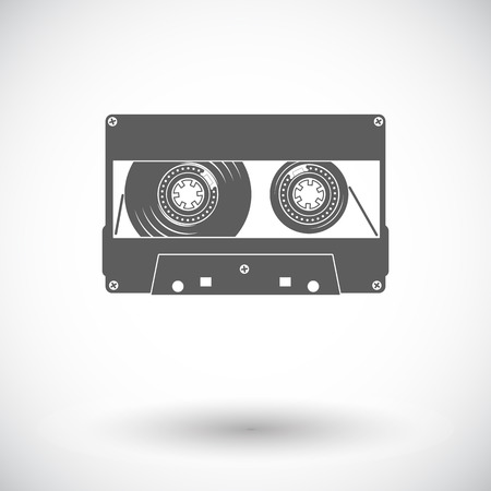 audio cassette: Audio cassette. Single flat icon on white background