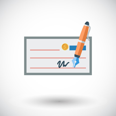 Bank cheque. Single flat icon on white background