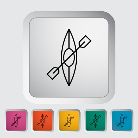canoe: Canoe outline icon on the button Illustration