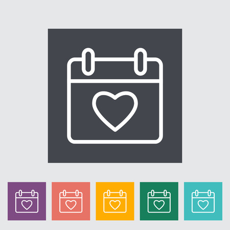 heart outline: Calendar with heart. Outline icon on the button