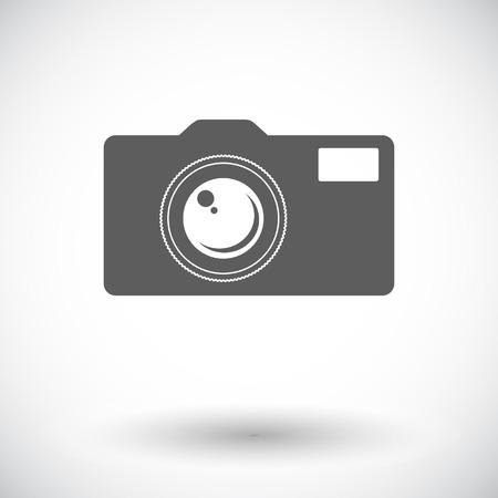 reflex camera: Camera. Single flat icon on white background