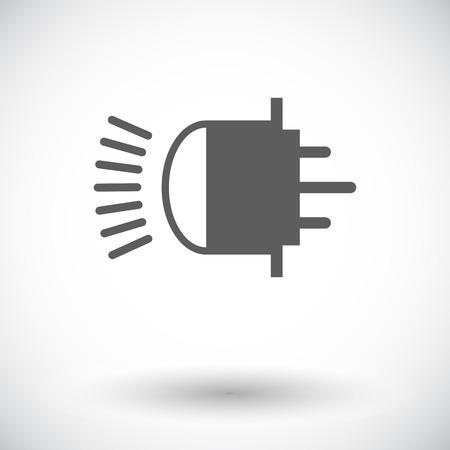 xenon: Xenon car lamp. Single flat icon on white background Illustration