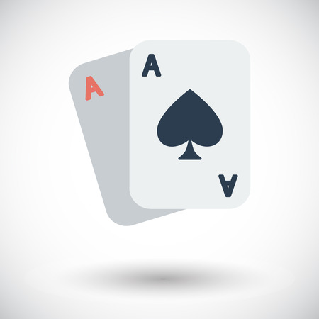double the chances: Play card flat icon on white background Illustration