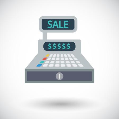 numpad: Cash register flat icon on white background Illustration