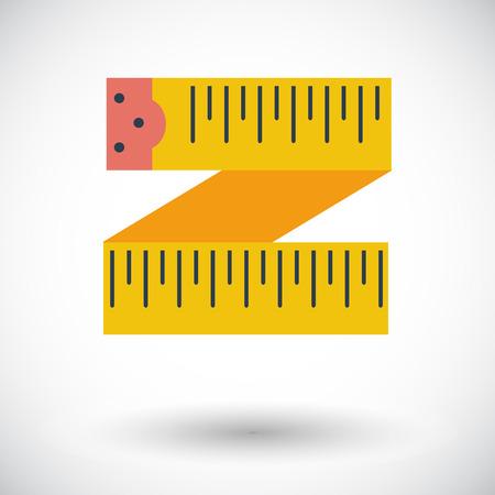 cinta metrica: Cinta del centímetro icono de plano sobre fondo blanco