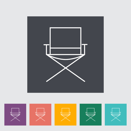 displaced: Camping chair. Outline icon on the button