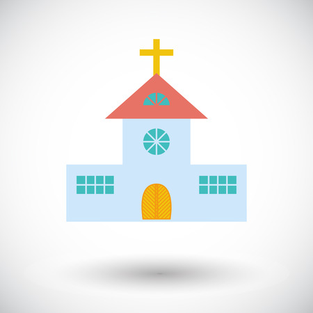 steeple: Church flat icon on white background