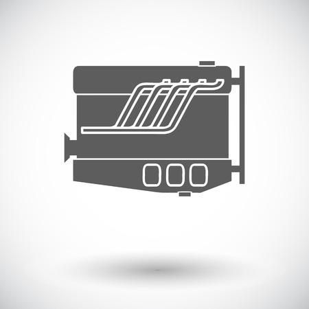 vehicle breakdown: Engine. Single flat icon on white background. Vector illustration.