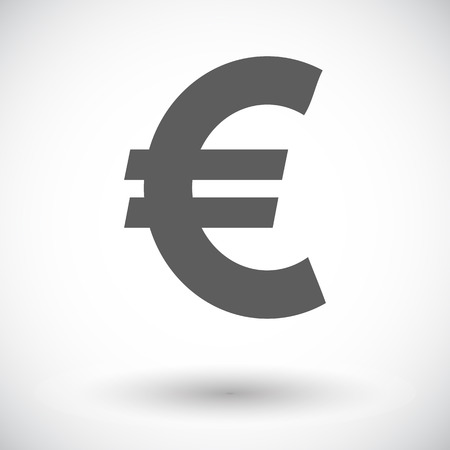 Euro. Single flat icon on white background. Vector illustration.