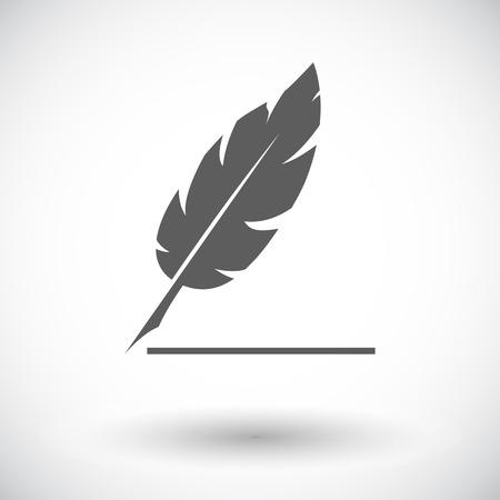 penman: Feather. Single flat icon on white background. Vector illustration.