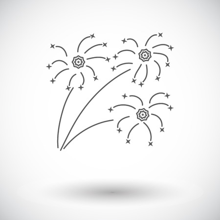 newyears: Firework. Single flat icon on white background. Vector illustration.