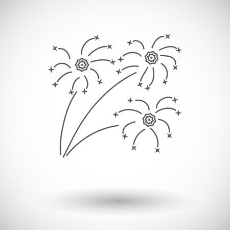 newyears: Firework. Single flat icon on white background. Vector illustration.