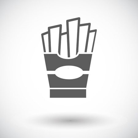 French fries. Single flat icon on white background. Vector illustration. Vector