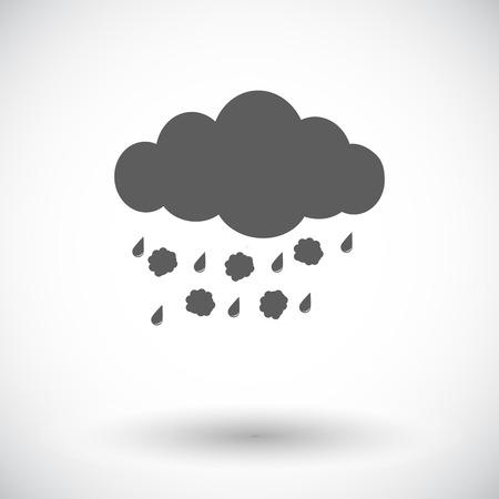hailstorm: Hagel. Single flat icon on white background. Vector illustration.