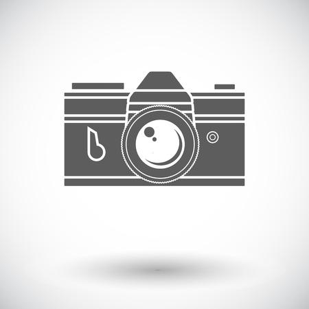 Vintage camera. Single flat icon on white background. Vector illustration.