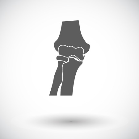 geriatrics: Knee-joint. Single flat icon on white background. Vector illustration.