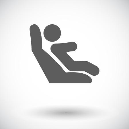 asiento coche: Los anclajes inferiores y correas de sujeción para niños. Solo icono de plano sobre fondo blanco. Ilustración del vector.