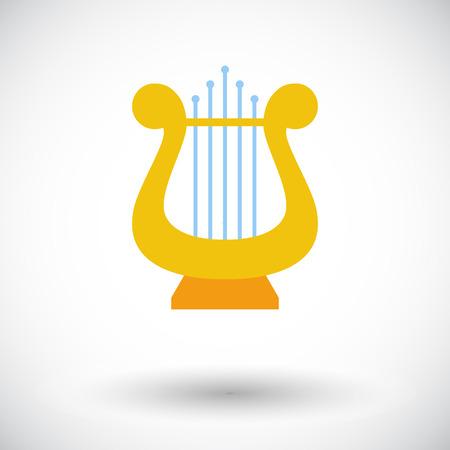 lyra: Lyra. Single flat icon on white background. Vector illustration.