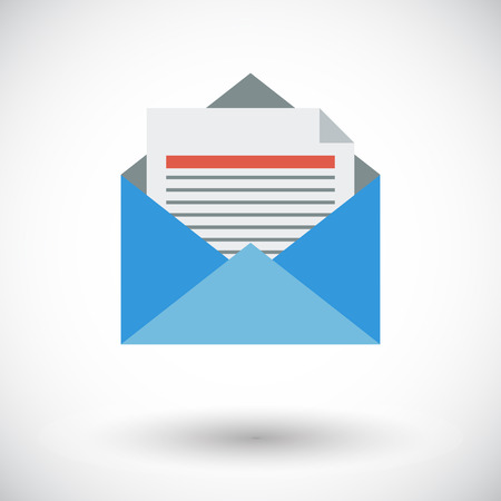 contact information: Envelope. Single flat icon on white background. Vector illustration.