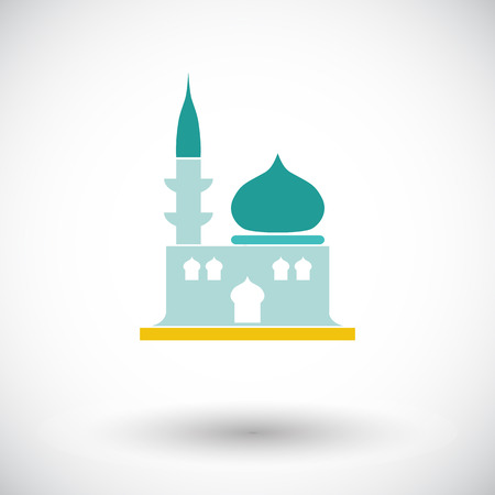 eastern spirituality: Mosque. Single flat icon on white background. Vector illustration. Illustration