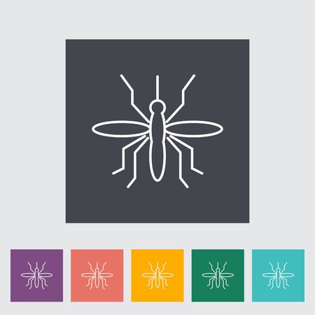 infect: Mosquito. Outline icon on the button. Vector illustration.