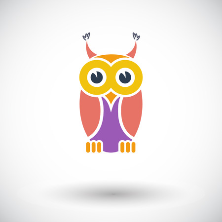 white owl: Owl. Single flat icon on white background. Vector illustration.